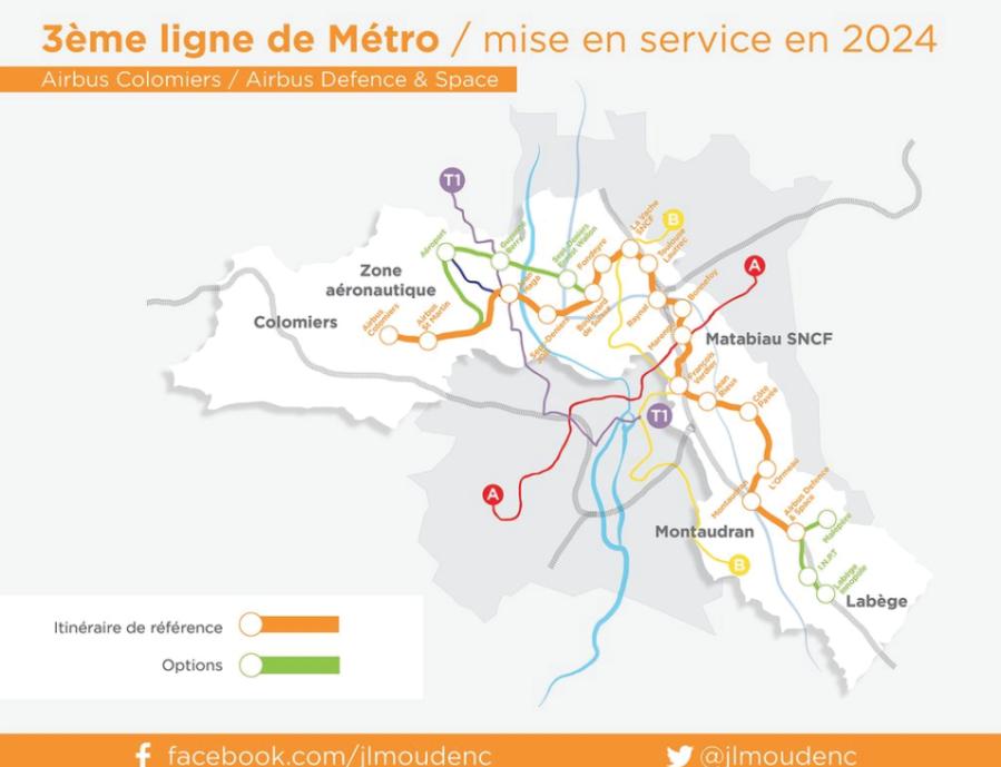3e ligne métro - Présentation Moudenc décembre 2015