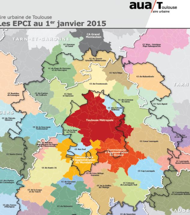 EPCI Métropole Toulouse 2015.