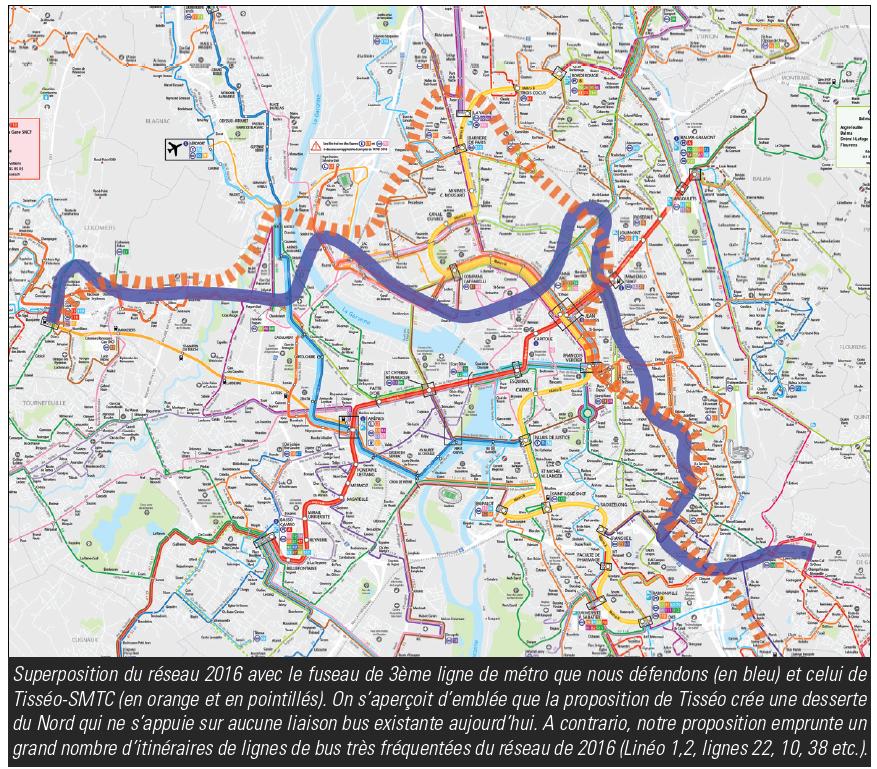 Comparaison lignes bus Tisséo fréquentées TAE 3e ligne