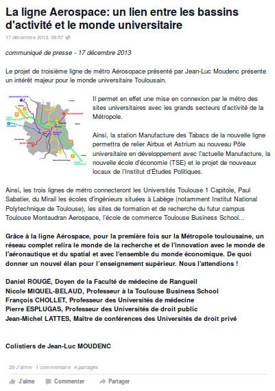 Tract Lattes-Moudenc 3e ligne métro Centre UT1 Amidonniers